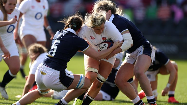 Bryony Cleall carries strongly for England