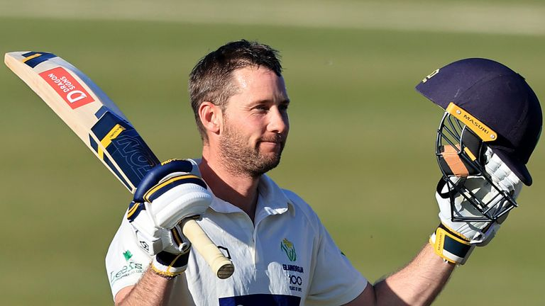 Glamorgan's Chris Cooke celebrates his century against Northamptonshire at The County Ground