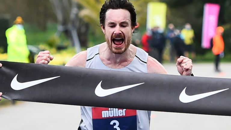 Chris Thompson celebrates victory at the Great Britain marathon trials last month