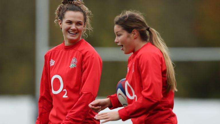 Breach (r) shares a joke with Ellie Kildunne in England training