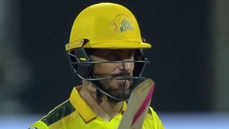 Faf du Plessis struck 95no for Chennai - one run short of his IPL best