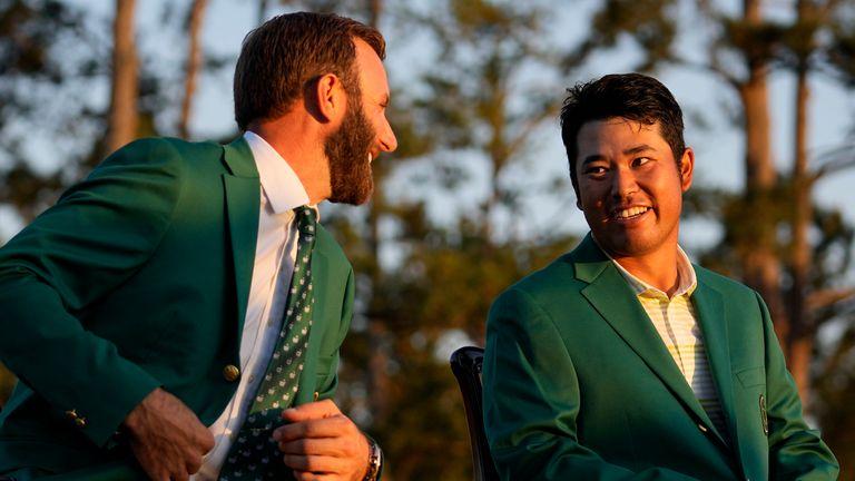 Hideki Matsuyama was presented with the Green Jacket by 2020 champion Dustin Johnson