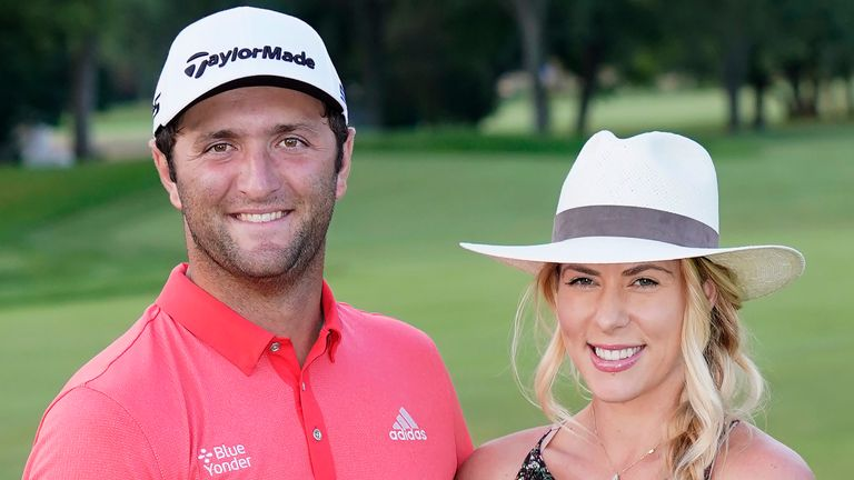 Jon Rahm and his wife Kelley after his victory in the BMW Championship last year