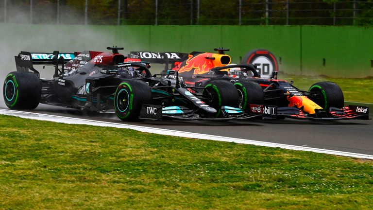 Red Bull and Mercedes in battle on track at Imola last weekend