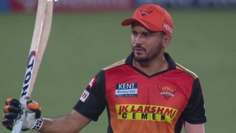 Sunrisers Hyderabad's Manish Pandey reached his fifty off 35 balls