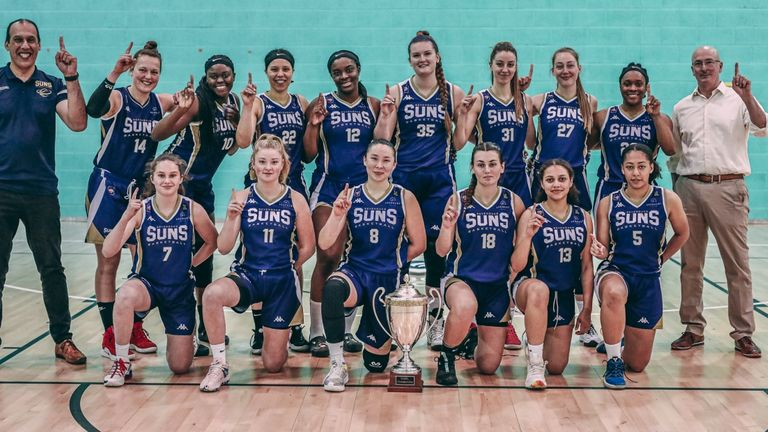 The Sevenoaks Suns celebrate becoming WBBL champions for the third time