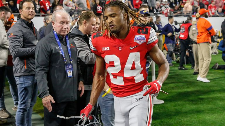 Ohio State Buckeyes cornerback Shaun Wade runs off the field after being ejected against Clemson in 2019. (Photo by Kevin Abele/Icon Sportswire via AP)