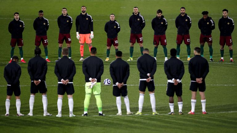 Fulham and Wolves players observe a two-minute silence in memory of the Duke of Edinburgh