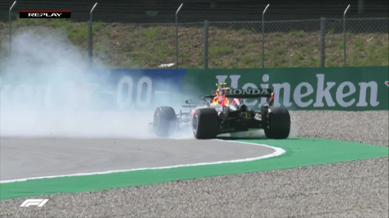 Sergio Perez spins off at Turn 13 but avoided damage to his Red Bull in Q3.
