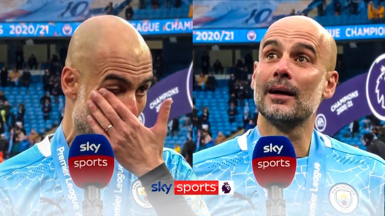 An emotional Guardiola paid tribute to the departing Aguero as the Argentine scored twice in his final appearance at the Etihad Stadium