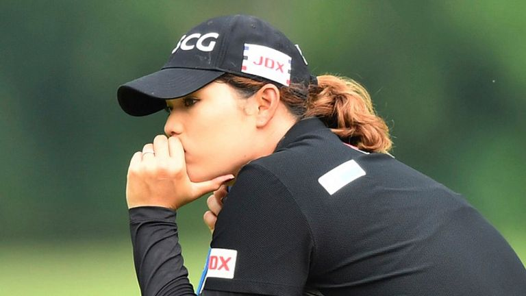 Jutanugarn had an anxious wait after thunderstorms suspended play