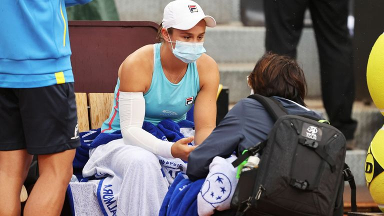 Ashleigh Barty was forced to retire from her match against Coco Gauff with a right arm injury