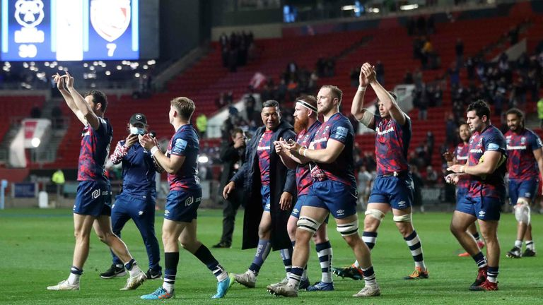 Bristol Bears players applaud the fans at the end of the game