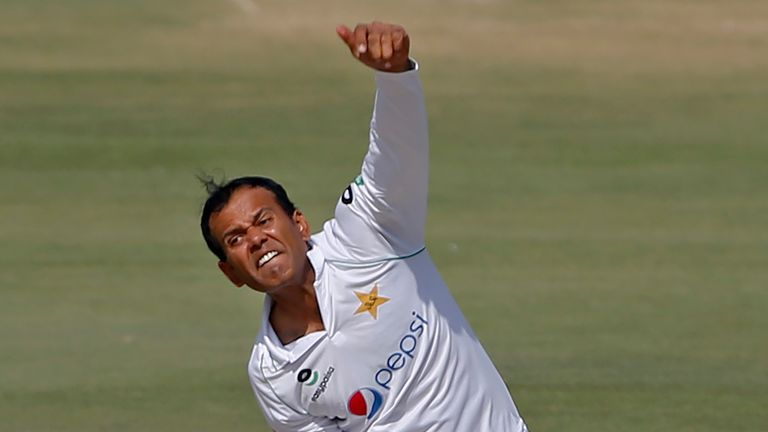 Pakistan spinner Nauman Ali picked up two wickets in Zimbabwe's second innings of 134. (AP Photo/Anjum Naveed)
