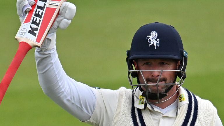 Darren Stevens celebrates his swashbuckling innings of 190 off 149 balls for Kent against Glamorgan
