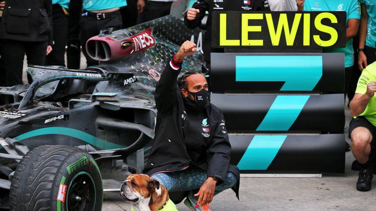 Lewis Hamilton celebrates equalling Michael Schumacher's record in Turkey last year