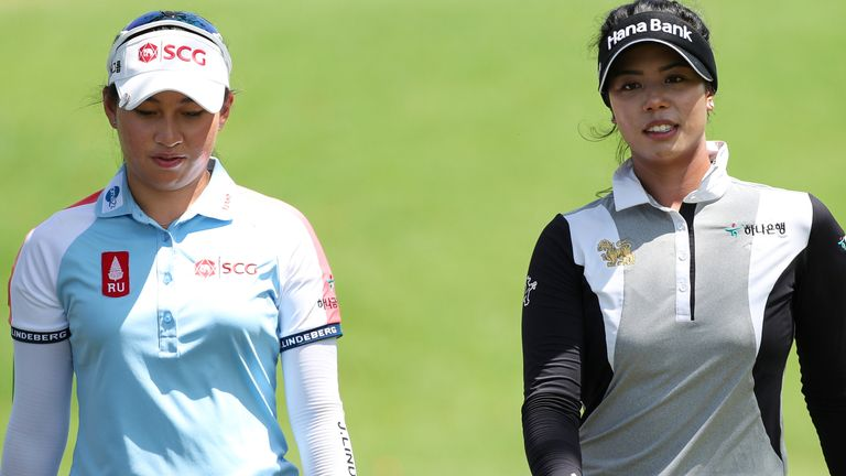 Atthaya Thitikul (left) and Patty Tavatanakit (right) will play together in the final group again on Saturday