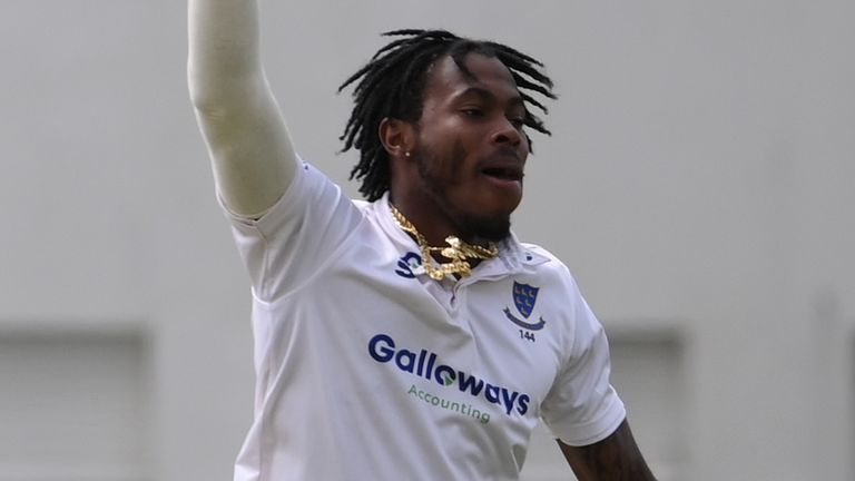 Jofra Archer took 2-29 from 13 overs as he returned to first-team action with Sussex against Kent at Hove