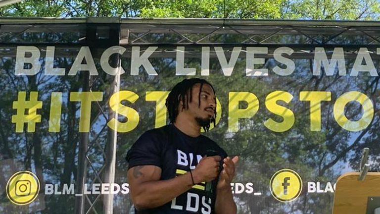 Jon Magrin spoke on stage at a Black Lives Matter protest in Leeds last June