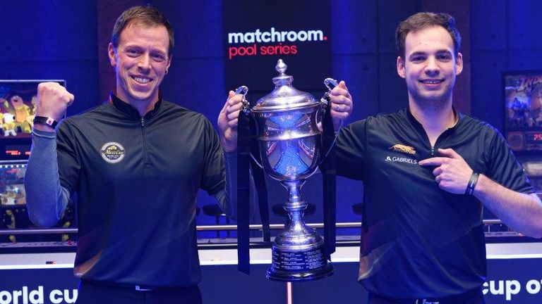 Germany's Christof Reintjes and Joshua Filler lifted the World Cup of Pool in Milton Keynes (photo courtesy of Taka Wu/Matchroom Multi Sport)