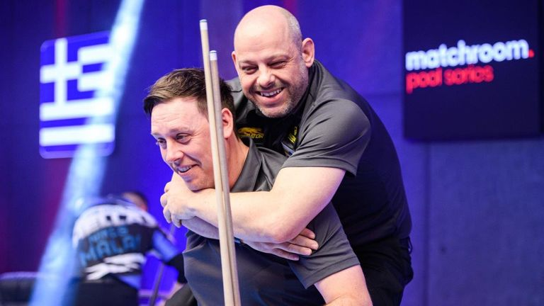 Karl Boyes (left) and Darren Appleton are through to the semi-finals at the World Cup of Pool