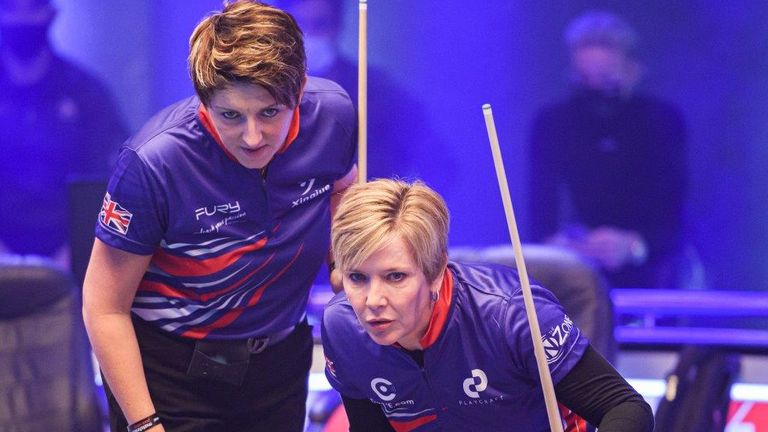 Kelly Fisher (left) and her Great Britain B partner Allison Fisher were beaten by three-time World Cup of Pool champions Philippines (photo courtesy of Taka Wu/Matchroom Multi Sport)