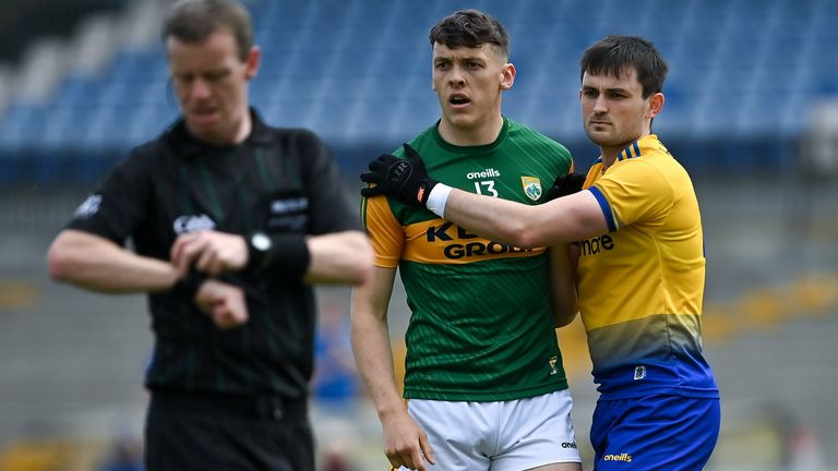 David Clifford of Kerry is marked by Brian Stack of Roscommon
