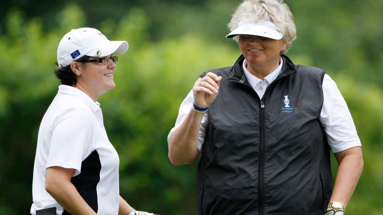 Laura Davies (right) partnered Becky Brewerton (left) in both the 2007 and 2009 contests