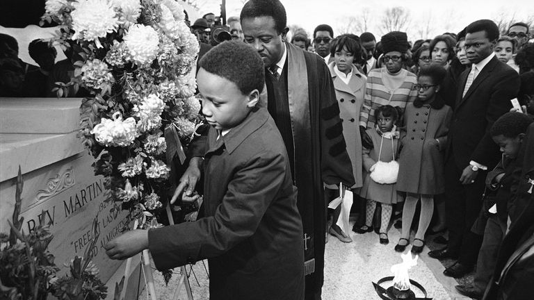 Martin Luther King III places a wreath at his father Dr. King's tomb in Atlanta in 1969, as part of ceremonies commemorating his 40th birthday