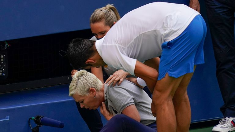 Novak Djokovic was sensationally defaulted at the US Open last year when he struck a line judge after hitting the ball in frustration