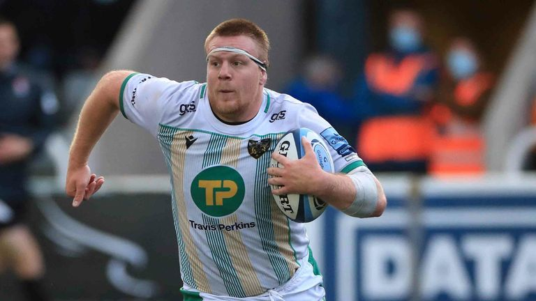 Northampton Saints' Paul Hill on his way to scoring a try