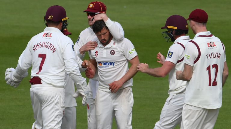 Simon Kerrigan claimed a five-wicket haul for Northamptonshire at Sussex