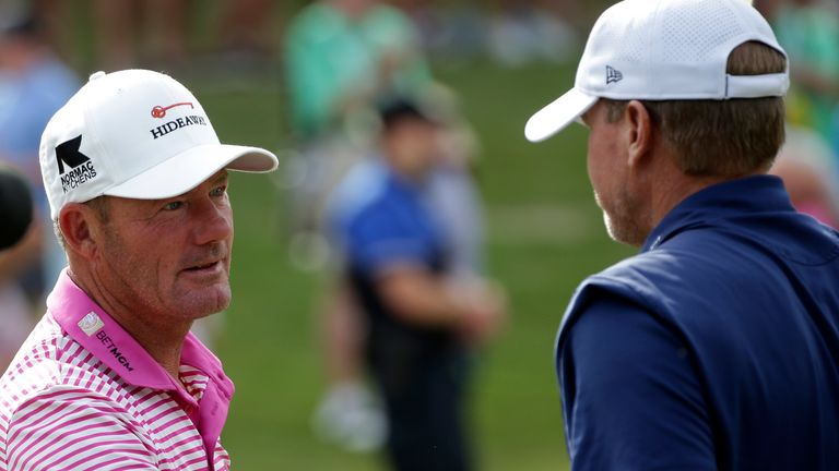 Steve Stricker (right) was chasing back-to-back wins at the event, after the 2020 contest was cancelled due to Covid-19