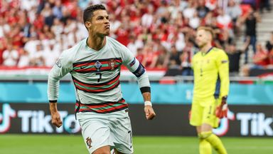 Cristiano Ronaldo celebrates after scoring Portugal's second goal against Hungary