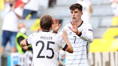 Germany's Kai Havertz celebrates with Thomas Muller after scoring against Portugal in Munich