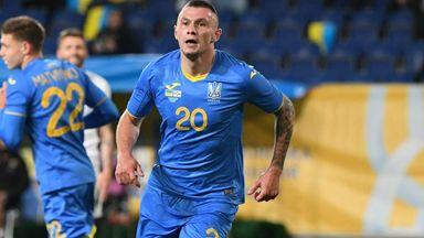 Ukraine midfielder Oleksandr Zubkov celebrates after scoring against Northern Ireland in Dnipro