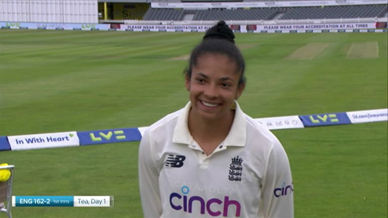 Sophia Dunkley could not hide her delight at being called up for her first England Test match against India at Bristol