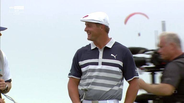 Defending champion Bryson DeChambeau jumps into the outright lead at the US Open after going agonisingly close to a hole-in-one at the par-three eighth