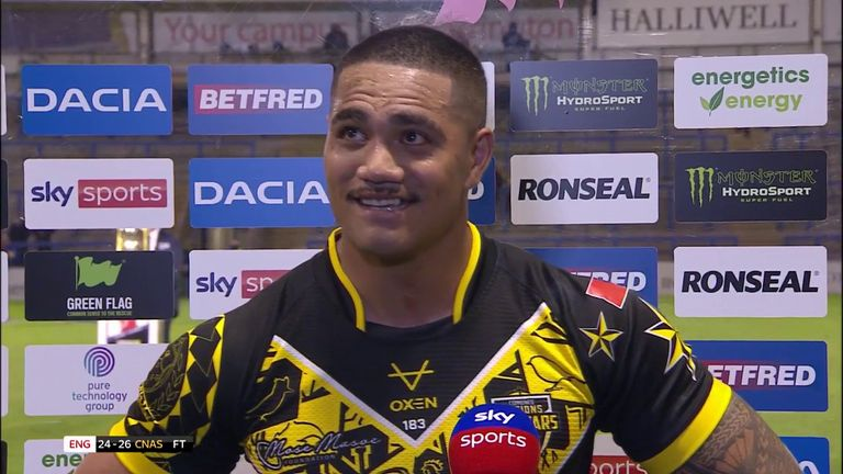Peter Mata'utia picked up the Player of the Match award after the All Stars beat England and Mata'utia paid tribute to Mose Masoe, who was watching from the stands.