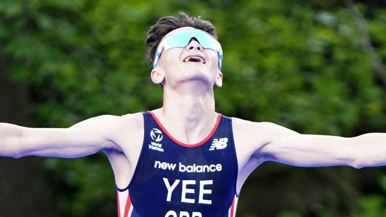 Alex Yee celebrates winning the World Triathlon Series event in Leeds