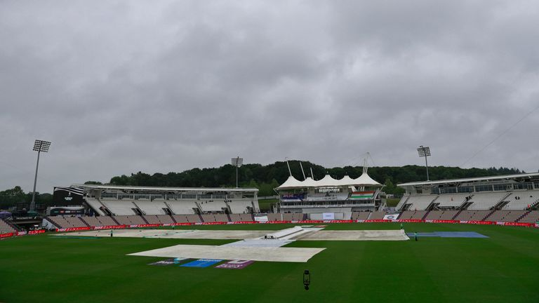 The covers remained on at the Ageas Bowl throughout day four of the World Test Championship final between India and New Zealand
