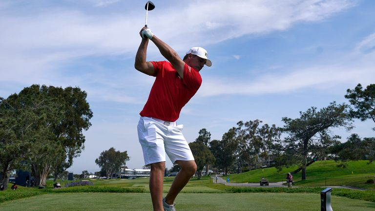 DeChambeau on the 18th tee during a practice round ahead of the US Open