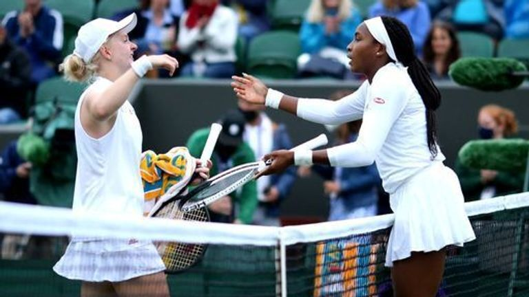 Gauff (right) predicts Britain's Jones can 'go far' after the 20th seed was forced to dig deep on her Wimbledon return