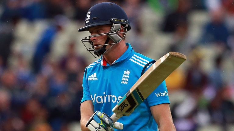 England's Jos Buttler walks off after being dismissed by a 'Mankad' run-out during the fifth ODI against Sri Lanka at Edgbaston in 2014