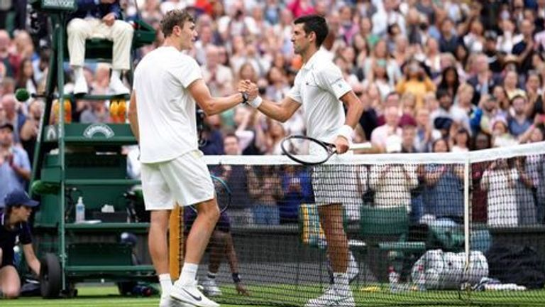 Draper (left) is ranked 253 in the world but, after some words of advice from Djokovic, he has bigger ambitions