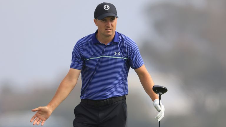 Spieth reacts to a tee shot during a practice round at Torrey Pines on Monday