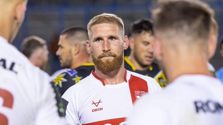 England's Sam Tomkins dejected after his side's loss to the Combined Nations All Stars.