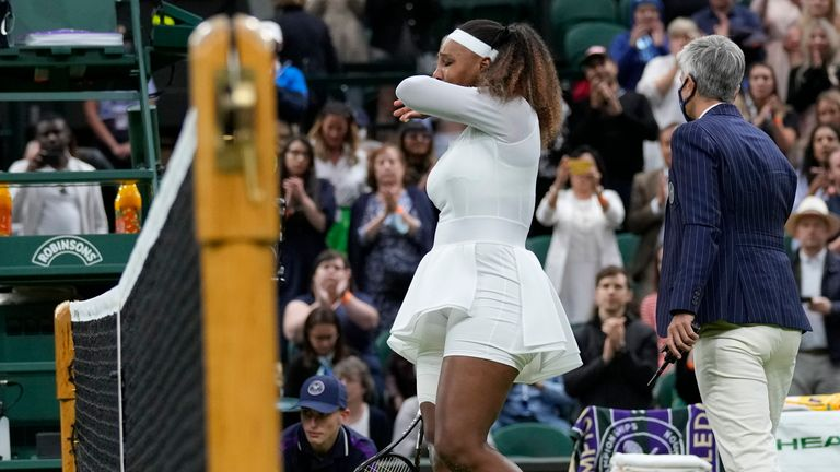 Williams was chasing her 24th Grand Slam title, but had to withdraw at 3-3 in the opening set on Centre Court