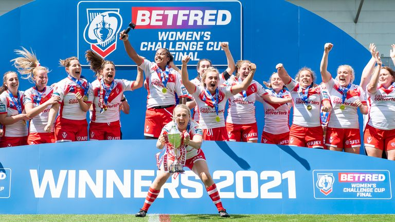 St Helens 34-6 York: Saints clinch Women's Challenge Cup with big win at Leigh