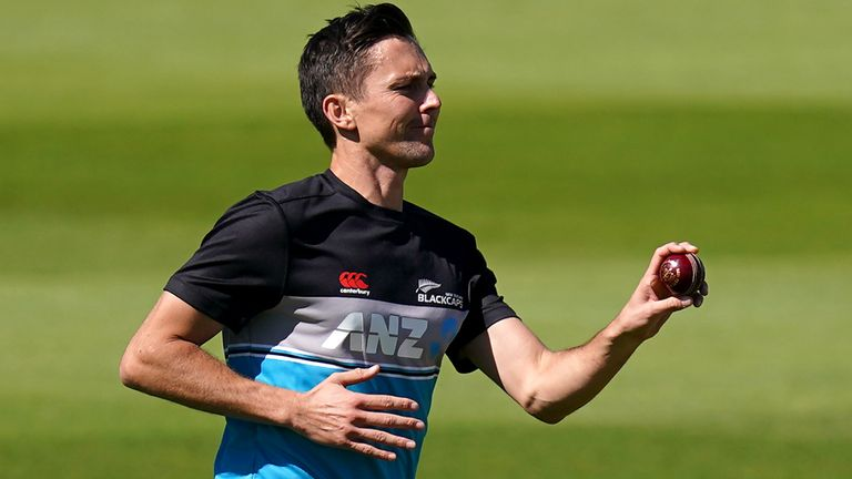 New Zealand's Trent Boult takes part in a nets session at Edgbaston